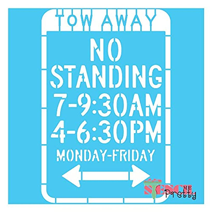 Stencil - No Standing Tow Away Zone Painted Sign Template-M (12
