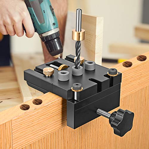 Herramientas Carpinteria, Kacsoo 6/8 / 10/15 mm Ajustable Guia Para Agujeros Ocultos Con Clip De Posicionamiento, 3 En 1 Herramientas De Carpinteria Madera Guia Para Agujeros En Madera