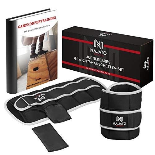 NAJATO Sports Gewichtsmanschette [2er Set] – Gewichte für Beine mit reflektierender Umrandung – Gewichtsmanschetten Fuß – Ankle Weights mit verstellbaren Gewichten