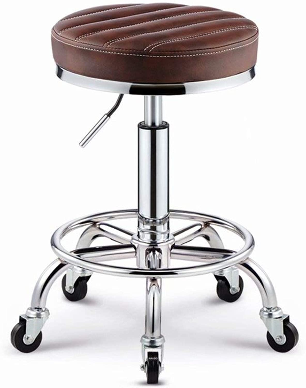 Wrought Iron Makeup Stool, Creative PU Stripe Bar Stool Lift High Stool Swivel Chair Creative Dining Chair, Beautiful and Practical GMING (color   D)