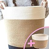 Little Hippo 2pc Large Cotton Rope Basket, White (16'x15') 100% Natural Cotton! Laundry Basket, Woven Storage Basket, Blanket Basket Living Room, Toy Storage Basket, Pillow Basket, Round Basket
