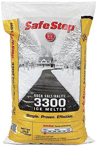 Safe Step Rock Salt/Halite Standard 3300 Ice Melter Non-Corrosive Safe for Concrete Sidewalks, Driveway Pavement- 25 Pound Bag