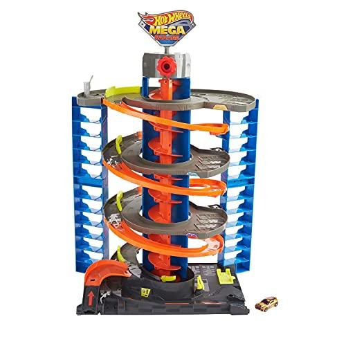 Hot Wheels Mega Garaje Pista de coches de juguete, almacena + de 60 vehículos, incluye 1 vehículo die-cast (Mattel GTT95)