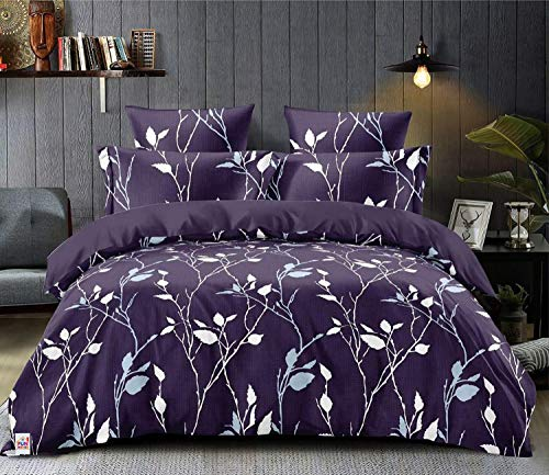 Fun Homes Leaf Print Microfibre Reversible Comforter, Double,150 GSM(Purple)