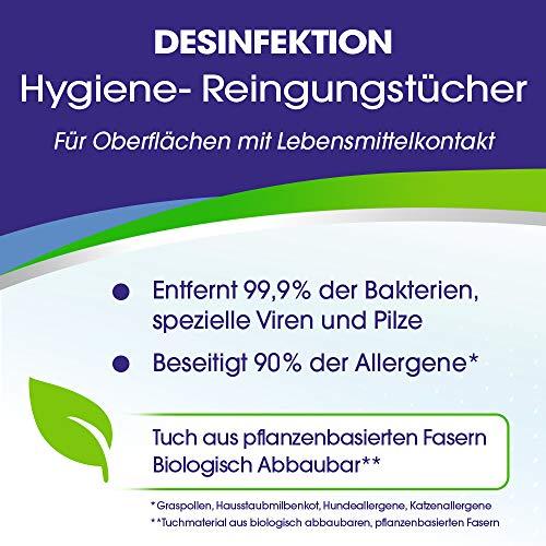 Sagrotan Hygienereinigungstücher – Für die praktische Reinigung und Desinfektion von Oberflächen - 6 x 60 Feuchttücher in wiederverschließbarer Verpackung - 3