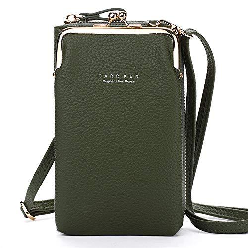 FITSU Kompakte 2 in 1 Smartphone Portemonnaie Umhängetasche, für Damen von New York bis Berlin, in vielen bunten & trendigen Frühlingsfarben | grün