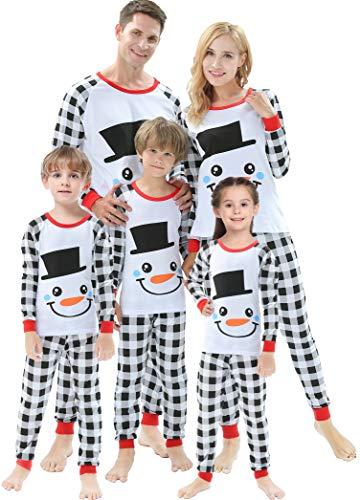 Matching Family Christmas Pajamas Baby Boys White Snowman Clothes Toddler Girls Plaid Pyjamas Kids 8 Years