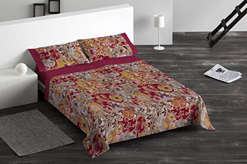 Burrito Blanco Juego de Sábanas 095 con Diseño Ornamental Algodón para Cama Individual de 90x190 hasta 90x200 cm/Juego de Cama 90, Color Rojo