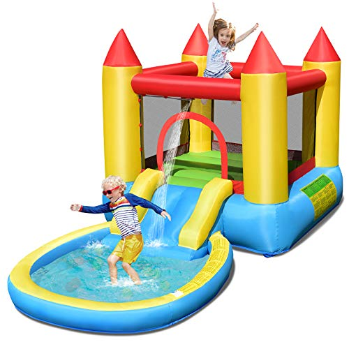 Costzon Castle Bounce House with Water Slide, Jumping Area, Splash Pool, Inflatable Slide Bouncer, Jump and Slide Bouncer Castle, Inflatable Water Park for Kids (Without Blower)