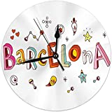 Butty Reloj de Pared sin tictac 9.8 'Pulgadas Barcelona Vintage Reloj de Pared