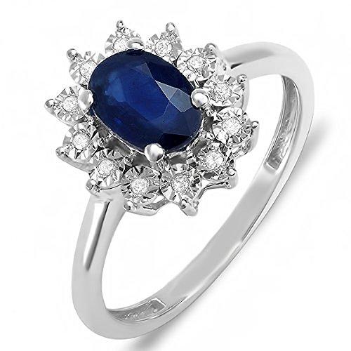 Dazzlingrock Collection Kate Middleton Diana - Anillo de novia real con diamantes de oro de 18 quilates y zafiro azul