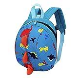 [page_title]-Trada Kindergartentasche, Baby Jungen Mädchen Kinder Dinosaurier Muster Tiere Rucksack Kleinkind Schultasche/Wickelrucksack mit Sicherheitsleinen für Babys/Rucksäcke für kleine Kinder (Blau)