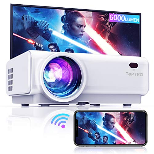 """TOPTRO WiFi Projector, 6000Lumen Bluetooth Projector, Support 1080P Home Video Projector, 200"""" Display, HiFi Speaker Compatible with TV Stick/Phone/Laptop/PS4/SD/USB/VGA/HDMI"""