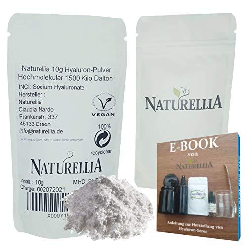 Naturellia - Poudre Acide Hyaluronique 10 Grammes Hautement Concentré - Poids Moléculaire Élevé Effet Extérieur et Protection - Faire de la Crème Cosmétique Naturels Anti-Âge à la Maison