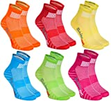 Rainbow Socks - Women Men Colourful Cotton Sneaker Sport Socks - 6 Pairs - Orange Red Yellow Turquoise Green Fuchsia - Size 10-11,5