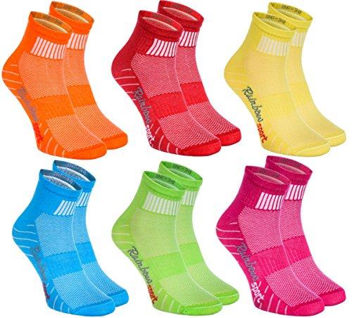 Rainbow Socks - Hombre Mujer Calcetines Deporte Colores de Algodón - 6 Pares - Verde Rosa Naranja Rojo Azul Palido Amarillo - Talla 44-46