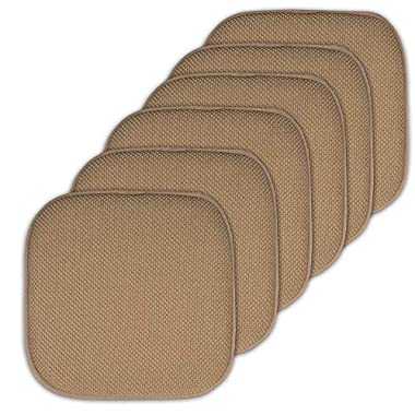 Sweet Home Collection Cushion Memory Foam Chair Pads Honeycomb Nonslip Back Seat Cover 16  x 16  6 Pack Taupe