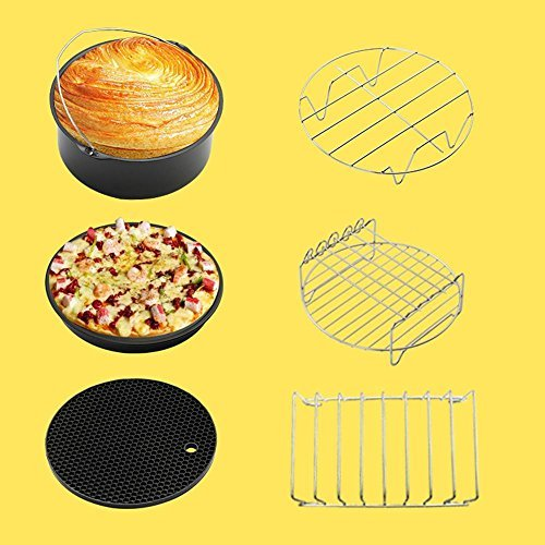 Air Fryer Accessories,niceeshop(TM) Deep Fryer Air Fryer Parts for Phillips,Gowise and Cozyna Air Fryer Fit All 3.7QT - 5.3QT - 5.8QT and Up,Set of 6pcs - 7 Inch