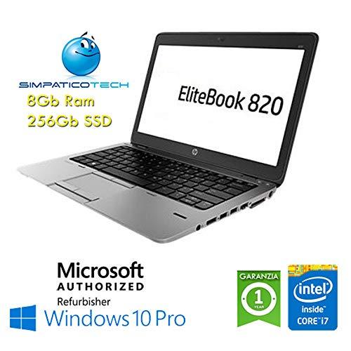 Notebook HP EliteBook 820 G1 Core i7-4600U 8Gb 256Gb SSD 12.5  HD AG LED Windows 10 Professional Licenza Simpaticotech MAR Microsoft Authorized Refurbisher (Ricondizionato)(SENZA Docking Station)