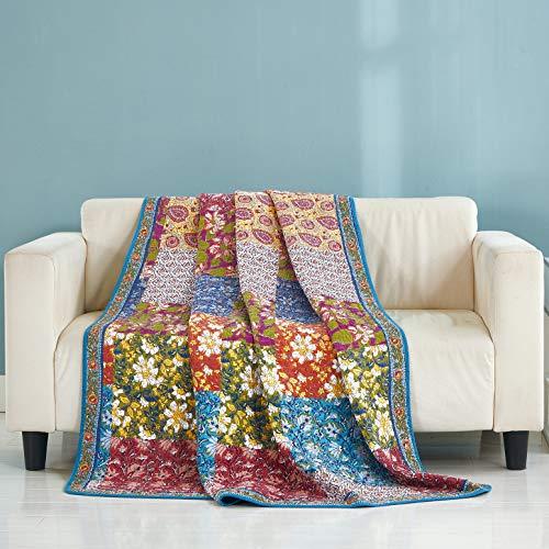 Qucover Patchwork Tagesdecke 150x200 cm aus 100% Baumwolle Gesteppte Bettüberwurf/Sofaüberwurf 140x200 cm Shabby chic Muster