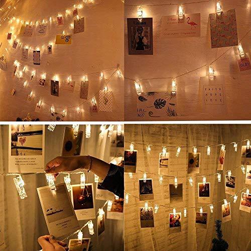Vetrineinrete 20 mollette clips porta foto con luci led stringa catena luminosa da parete filo trasparente 3 metri lucine decorative a batteria (Luce calda) D18