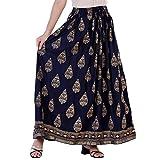 Krishika Women's Rayon Printed Ethnic Long Skirt (Blue, Free Size)