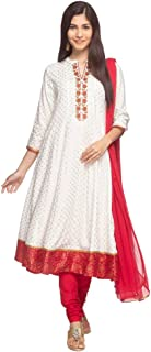 STOP Womens Mandarin Collar Embroidered Churidar Suit