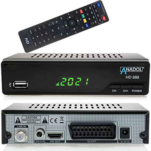 Anadol HD 888 digitaler Sat Receiver mit Aufnahmefunktion für Satelliten TV - PVR, Timeshift, HDMI, SCART Anschluss, USB, Coaxial - Media Player Funktion - Astra Hotbird vorinstalliert - 12V Netzteil