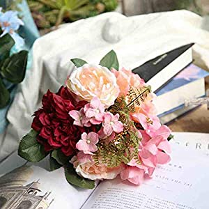 Artificial and Dried Flower Handmade Simulation Flower Bridal Flower Wedding Supplies Bride Bouquet Pink Purple Anemone Hydrangea Rose Artificial Flowers – ( Color: Red )