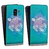 DeinDesign Flip Hülle kompatibel mit Samsung Galaxy A8 Duos 2018 Tasche Weiß Hülle Schildkröte Batik Mandala