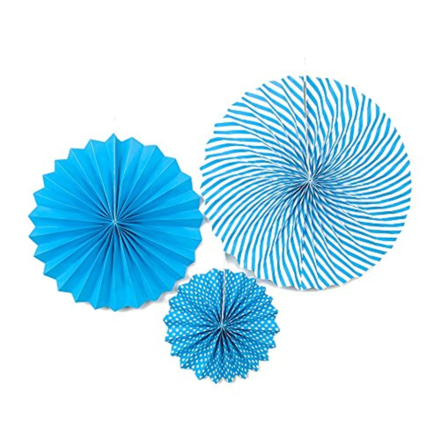 LUV RIBBONS PPF001-316 3 Piece Dots/Solid/Spiral Paper Fan 8