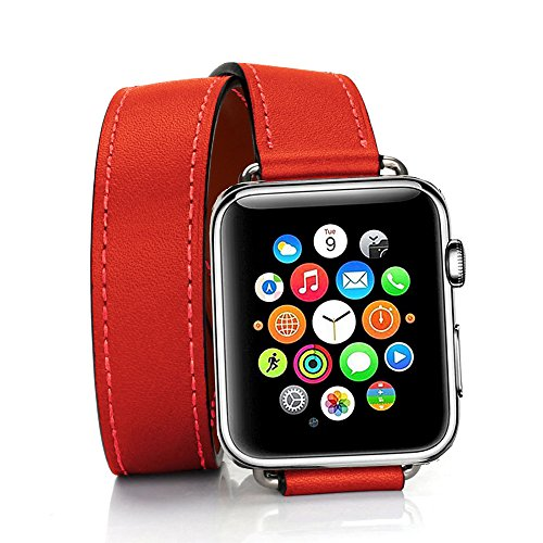 TEXSCOPE Compatibel met Apple Watch Band, Echt Lederen Dubbele Tour Apple Horlogebandjes 38mm/42mm voor Mannen Vrouwen iwatch series3 series2 Serie 1 (42mm, Rood)