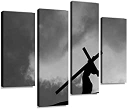 Canvas Wall Art Painting Pictures Christ Carrying The Cross on Good Friday Modern Artwork Framed Posters for Living Room Ready to Hang Home Decor 4PANEL