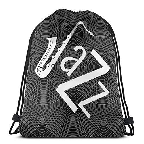 Música divertida linda mochila con cordón de gimnasio, bolsa de cinch bolsa de cuerda, diseño de jazz, disco de vinilo negro y blanco
