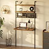 Rolanstar Computer Desk with Storage Shelves, Wall Mounted Home Office Floating Writing Desk, Laptop Study Table Workstation,Retro Industrial Style, Stable Metal Frame, Rustic Brown
