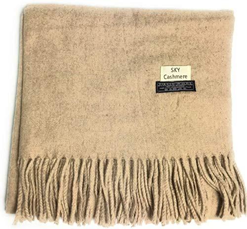 cashmere Grand châle de luxe doux en laine véritable mélangée (beige)