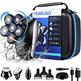 YEMIUGO Head Shavers for Bald Men 5 in 1 USB Rechargeable Electric Freedom Grooming Shaver Kits, IPX7 Full Waterproof 6D Electric Razor, Men's Beard Hair Nose Trimmer Facial Clean Massage Brush Kit