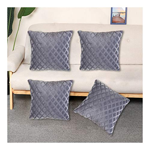 JDkilp Cushion Covers,Set Of 4 18x18 Inch(45cmx45cm) Plush Square Cushions,Waterproof Duck Egg Cushion Covers for Outside Bench Sofa Furniture(Without Core)