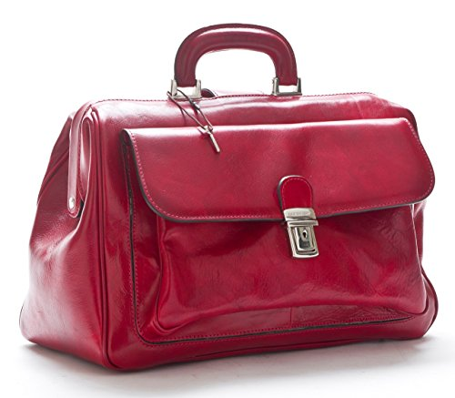 D&D - Borse Medico in vera pelle English Man - Made in Italy (Rosso)