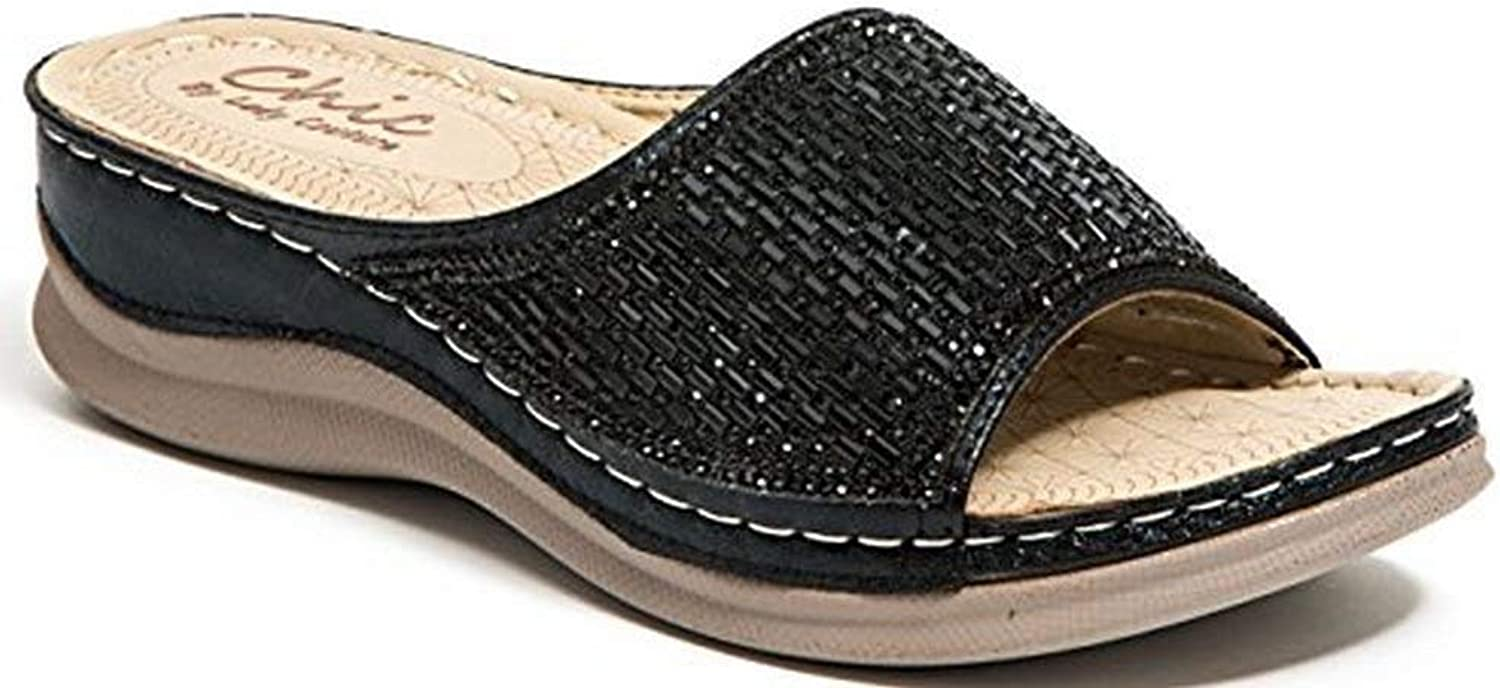 Lady Couture Womens Glitz Slide W A Padded Foot Bed