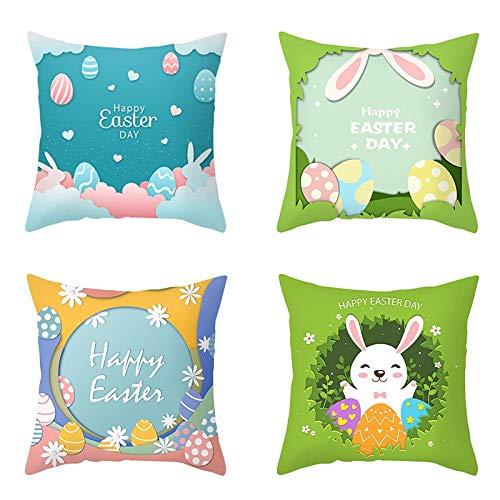 BOINN 4 Piezas Conejo Feliz Pascua Decoraciones para el Hogar Almohadas Huevos de Conejito Fundas de Almohada Funda de CojíN DecoracióN de Pascua 45X45Cm