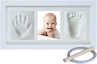 Baby Hand and Footprint Keepsake, Non-Toxic Clay Photo Frame Registry Kit for Wall Mount & Desktop Mount Decor, Perfect Shower Gift for Newborn Boys & Girls and Little Pets | NO Mold |