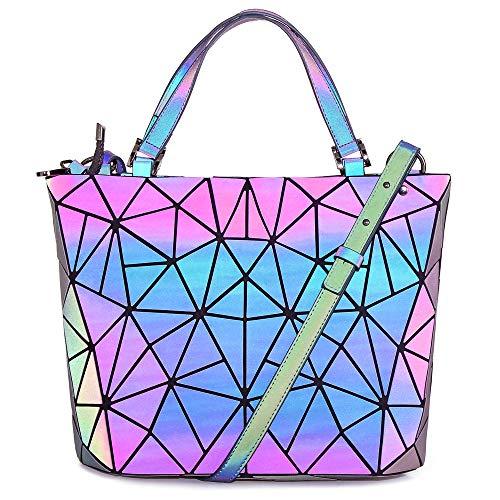 Hot One Handtasche Damen Geometrische Reflektierende Umhängetasche Geldbeutel Damen Taschen Set Rucksack (5# Leuchtend Mittel)