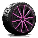 15 Zoll RKK13 Matt-Black Line Schwarz/Pink Radkappen/Radzierblenden 4 Stück