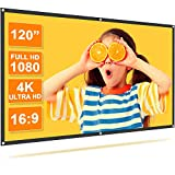 TMY Projector Screen 120 Inch, Movie Projection Screen 4K HD, 16:9 Foldable and Portable Anti-Crease Double Sided Projector Screen for Indoor & Outdoor Movies, Home, Party, Office, Classroom.