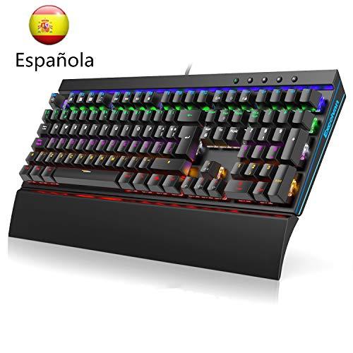 Excelvan Teclado Mecánico en Español para Trabajar y Jugar 108 Teclas Teclados N-Key Rollover Gamer Teclados con Reposamuñecas Extraíble Retroiluminada