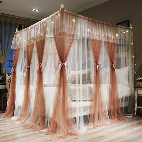 Review Of Bed Canopy - Elegant Lace Round Hoop Polyester Sheer Mesh Bed Curtains Indoor Portable Fra...