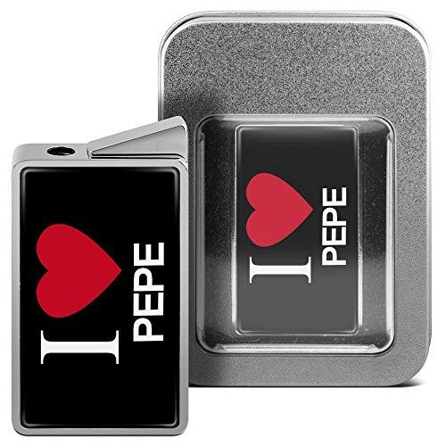 printplanet Feuerzeug mit Namen Pepe - personalisiertes Gasfeuerzeug mit Design I Love - inkl. Metall-Geschenk-Box