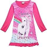BriskyM Baby Kind Mädchen Langarm Einhorn Schlaf Rüschen Kleid Nachthemd Pyjamas (Rose, 6-7 Year)