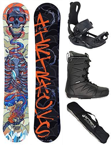 AIRTRACKS Snowboard Set - Tabla Diamond Heart Rocker 155 - Fijaciones Master - Softboots Strong 43 - SB Bag